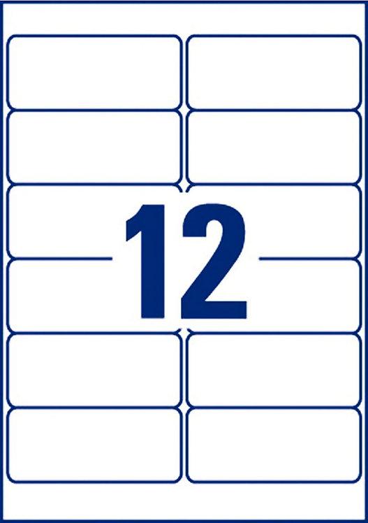 Boîte de 240 étiquettes indéchirables blanches adhésif permanent 99,1x42,3mm