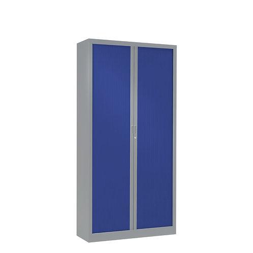 Armoire à rideaux bicolore 160 x 80 cm - Corps gris aluminium - Rideaux Color