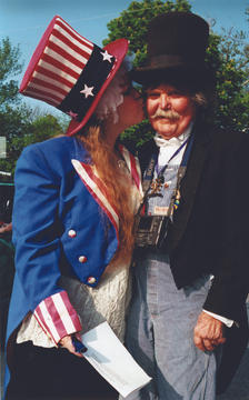 AVAM founder Rebecca Hoffberger with Kinetic Sculpture Race founder Hobart Brown