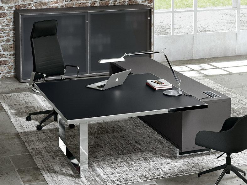 Bureau carré sur meuble porteur ATLAS
