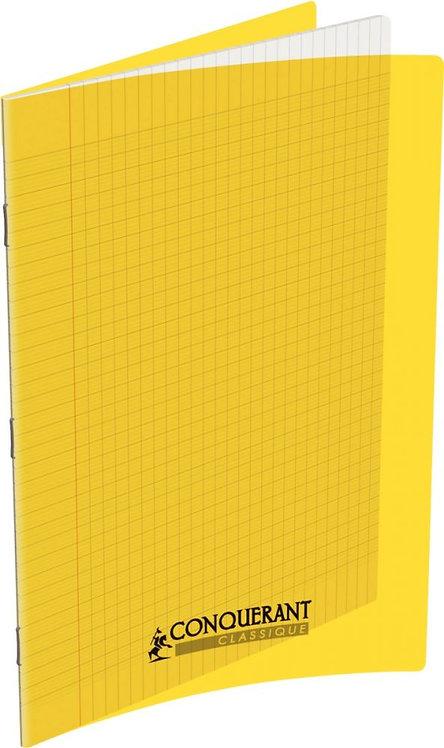 Piqûre 48 pages 21x29,7 cm seyès 90g couverture en polypropylène jaune