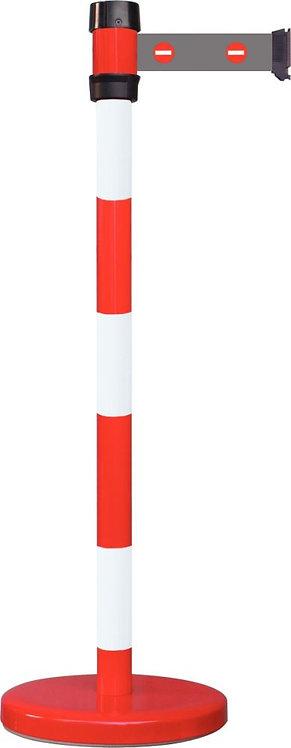 Poteau de guidage sécurité avec sangle picto entrée Interdite rouge/blanc 2,30M