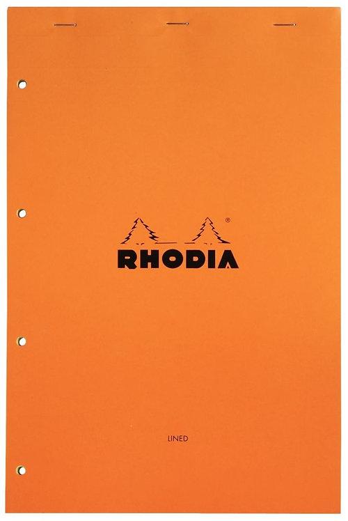 Bloc bureau RHODIA ligné 7mm, A4+80 feuilles jaune perforées 4 trous 80g