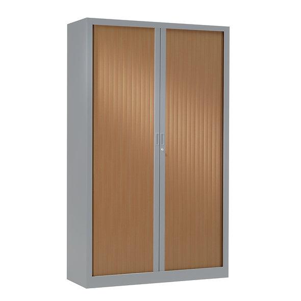 Armoire à rideaux bicolore 198 x 120 cm - Corps Aluminium - Rideaux bois