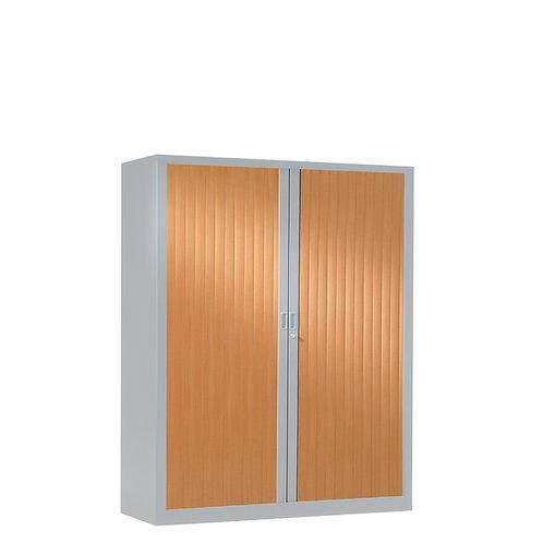 Armoire à rideaux bicolore 136 x 100 cm - Corps gris aluminium - Rideaux bois