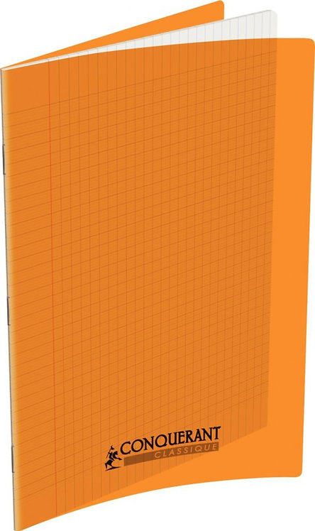 Piqûre 96 pages 21x29,7 cm, seyès 90g couverture polypropylène orange
