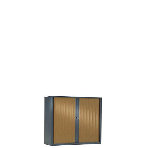 Armoire à rideaux bicolore 69.5 x 80 cm - Corps gris anthracite - Rideaux bois