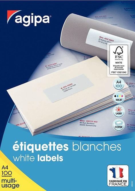 Boîte de 100 étiquettes multi-usages blanches 289.1x199.6mm coins arrondis