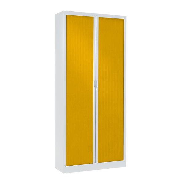Armoire à rideaux bicolore 198 x 80 cm - Corps blanc - Rideaux Color