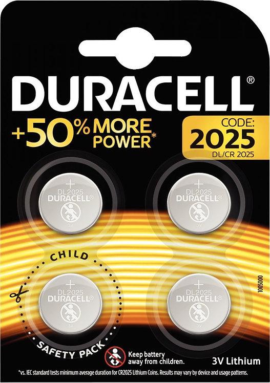Blister de 4 piles lithium 3V CR2025 DURACELL