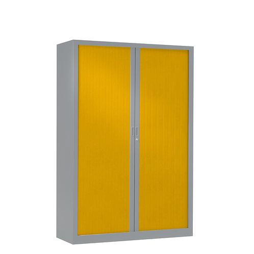 Armoire à rideaux bicolore 160 x 100 cm - Corps gris aluminium - Rideaux Color