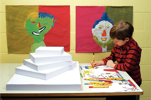 Paquet de 500 feuilles de papier dessin blanc 90 g format 50 x 65 cm