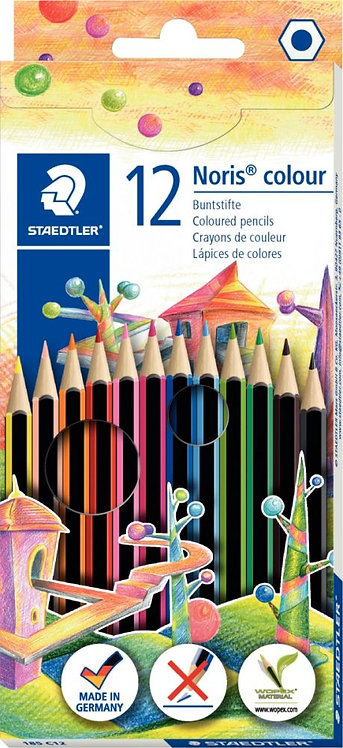 Etui de 12 crayons de couleur Noris colour 185 couleurs assortis