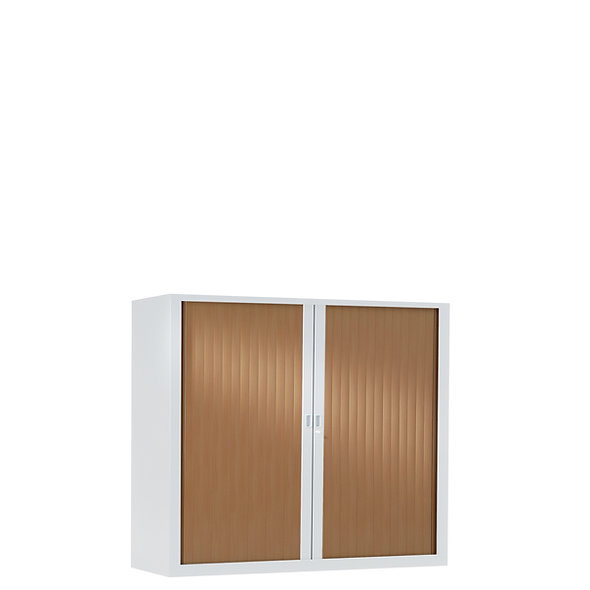 Armoire à rideaux bicolore 100 x 120 cm - Corps blanc - Rideaux bois
