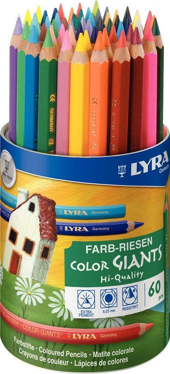 Pot 60 crayons de couleurs mine diamètre 6,25mm assortis
