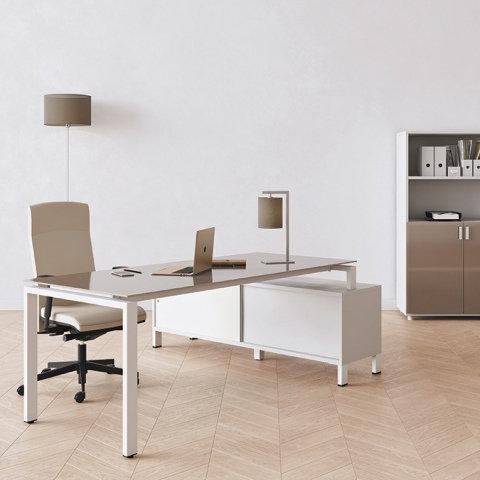 Bureau sur meuble porteur IRON - Plateau verre - Piétement Blanc
