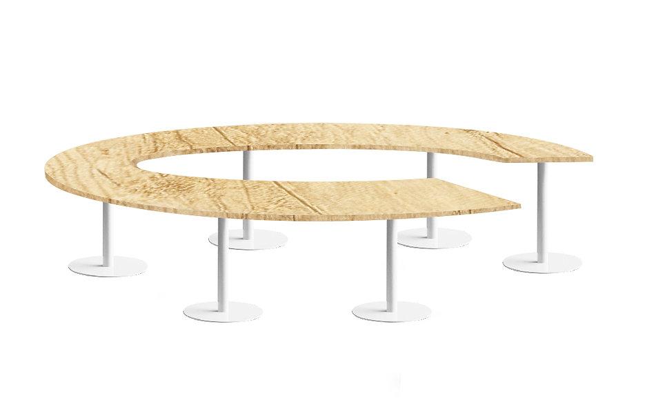Table cercle JAROD - Capacité 10 à 14 personnes - Piétement Blanc