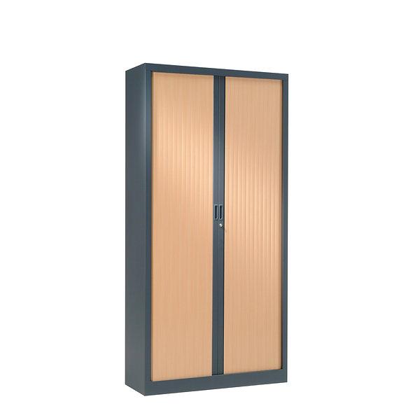 Armoire à rideaux bicolore 160 x 80 cm - Corps gris anthracite - Rideaux bois