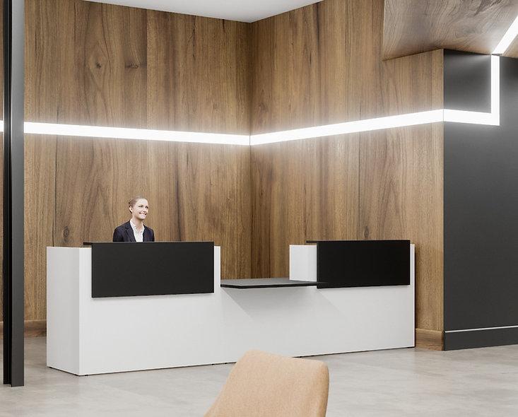 Comptoir d'accueil avec accueil PMR central NOA