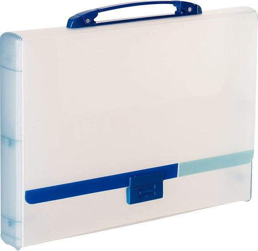 Valisette en polypropylène dos 4,5 cm bleu translucide