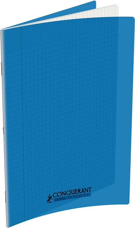 Piqûre 48 pages 24x32 cm seyès 90g couverture en polypropylène bleu