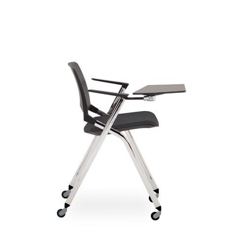 Chaise EMILE avec accoudoirs et tablette  - Piétement sur roulettes