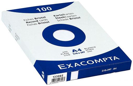 Boîte 100 fiches bristol non perforées carte forte 210g uni blanc 21x29,7cm