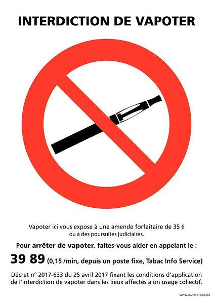 Panneau interdiction de vapoter