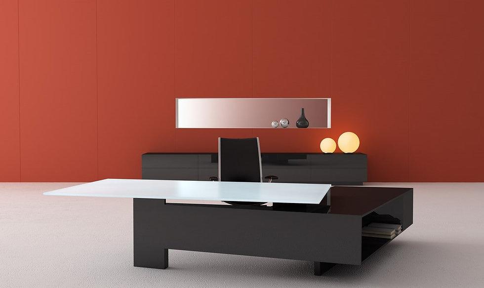 Bureau avec retour grands tiroirs MAST - Plateau verre - Piétement Anthracite