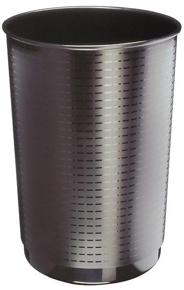 Corbeille à papier ronde décor façon tressé noir 40 litres