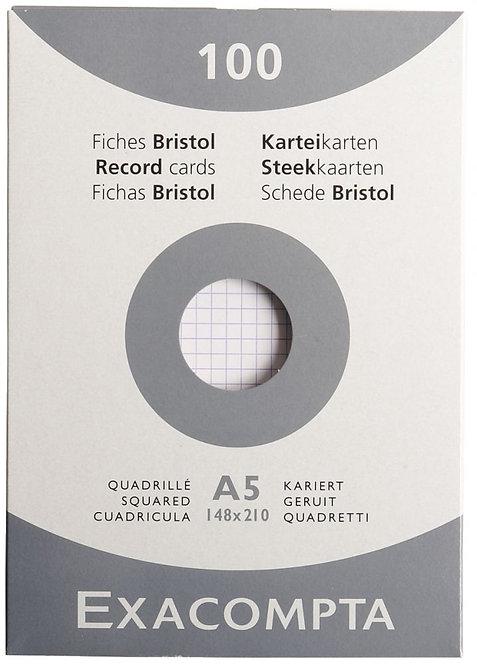 Etui 100 fiches bristol non perforées carte forte 210g blanc quadrillé 14,8x21cm