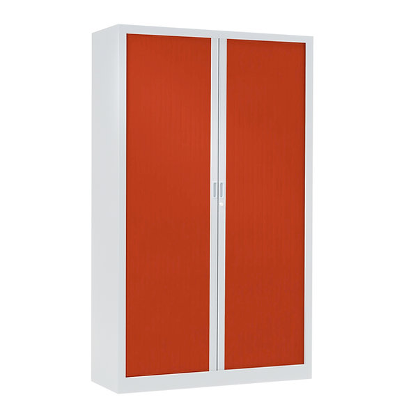 Armoire à rideaux bicolore 198 x 100 cm - Corps blanc - Rideaux Color