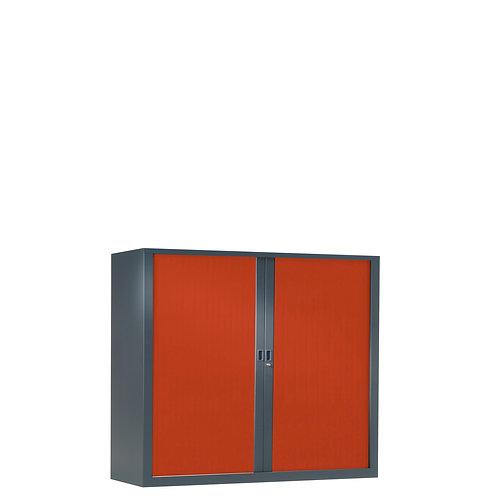Armoire à rideaux bicolore 100 x 100 cm - Corps gris anthracite - Ridea