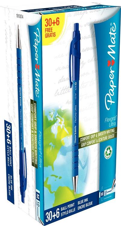 Pack de 36 stylos bille Flexgrip ultra dont 6 gratuits bleu