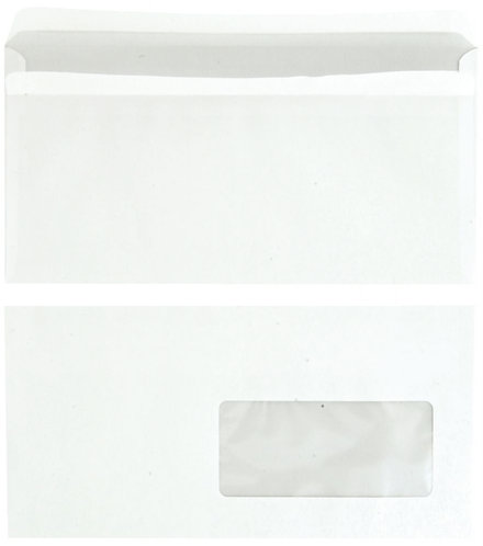 Boîte 500 enveloppes blanches DL 110x220 80g/m² fenêtre 45x100 autocollante