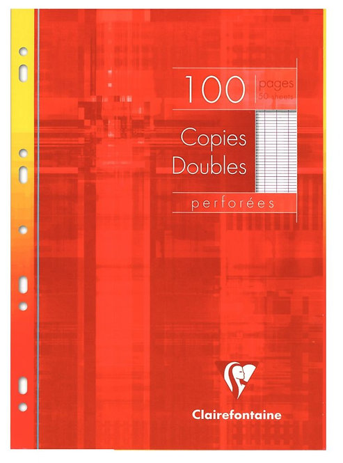 Etui de 100 copies doubles perforées 21x29,7 cm, seyes, blanc