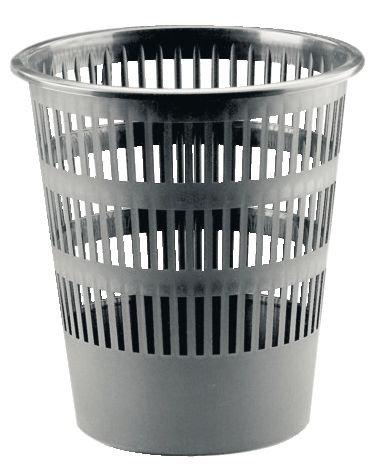 Corbeille à papier plastique ronde ajourée 16L Gris
