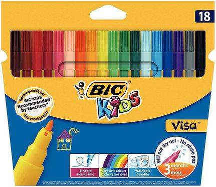 Pochette de 18 feutres Visa 880 pointe fine couleurs assorties