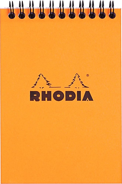Bloc-notes à reliure intégrale RHODIA A6 160 pages quadrillé 5x5 blanc 80g