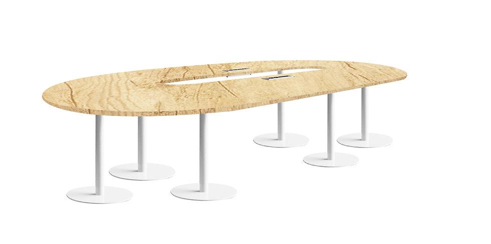 Table ovale JAROD - Capacité 8 à 12 personnes - Piétement Blanc