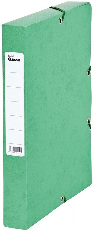 Boîte de classement en carte grainée, dos de 40 mm, coloris vert
