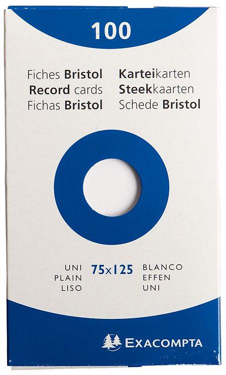 Boîte 100 fiches bristol non perforées carte forte 210g uni blanc 7,5x12,5cm