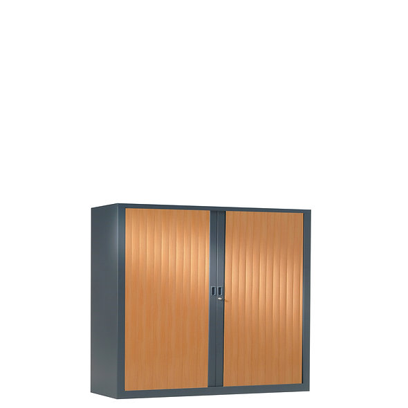 Armoire à rideaux bicolore 100 x 100 cm - Corps gris anthracite - Rideaux bois