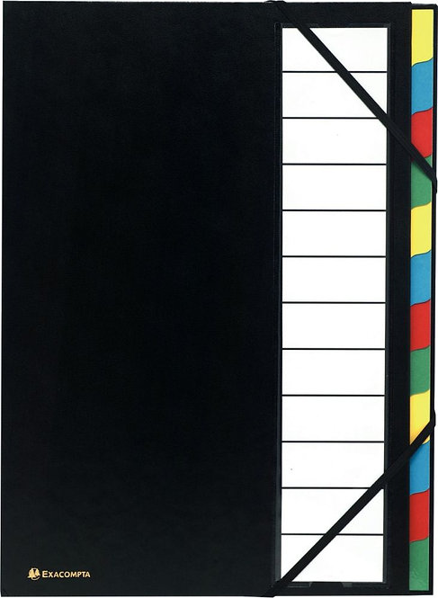 Trieur 12 compartiments couverture rigide avec élastiques noir
