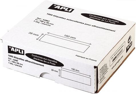 Boîte de 1 000 étiquettes d'affranchissement 150x39 mm