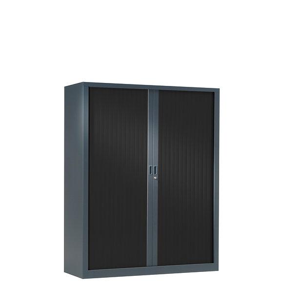 Armoire à rideaux bicolore 136 x 120 cm - Corps gris anthracite - Rideaux Color