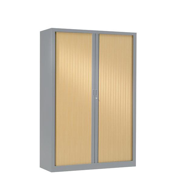 Armoire à rideaux bicolore 160 x 120 cm - Corps gris aluminium - Rideaux bois