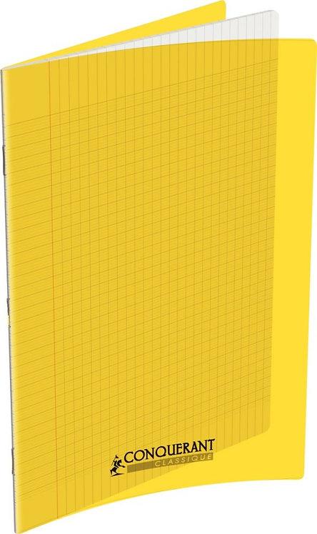 Piqûre 48 pages 24x32 cm, seyès 90g couverture polypropylène jaune