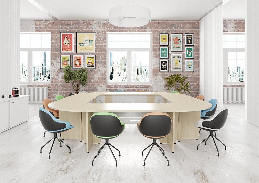 Table de conférence carrée MAGIC - Capacité 12 à 16 personnes