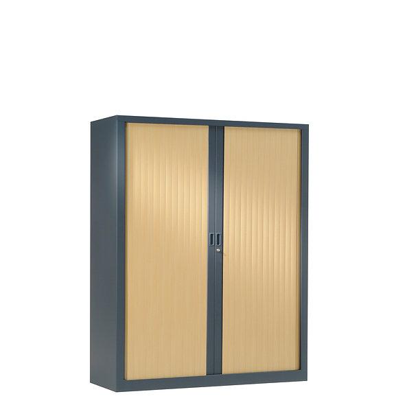 Armoire à rideaux bicolore 136 x 120 cm - Corps gris anthracite - Rideaux bois